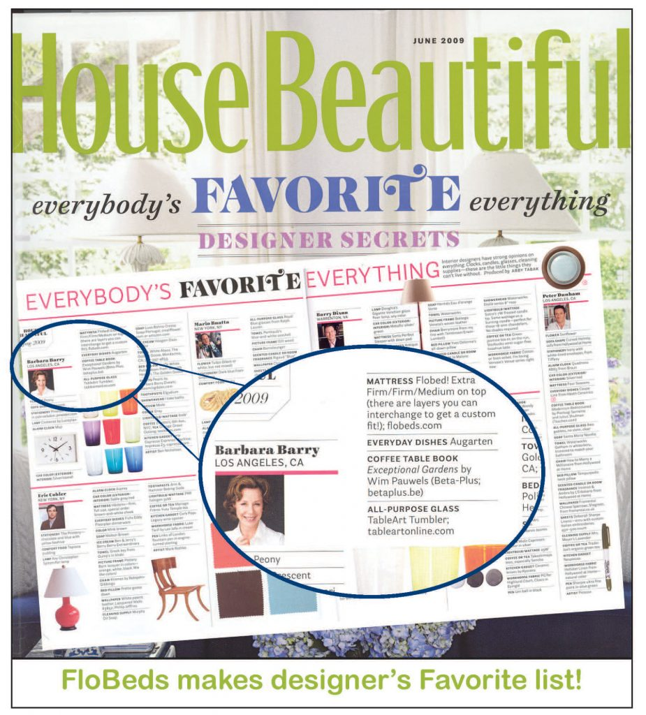 House Beautiful on favorite mattress