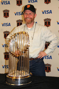 San Francisco Giants 2010 World Champion Trophy with Dave