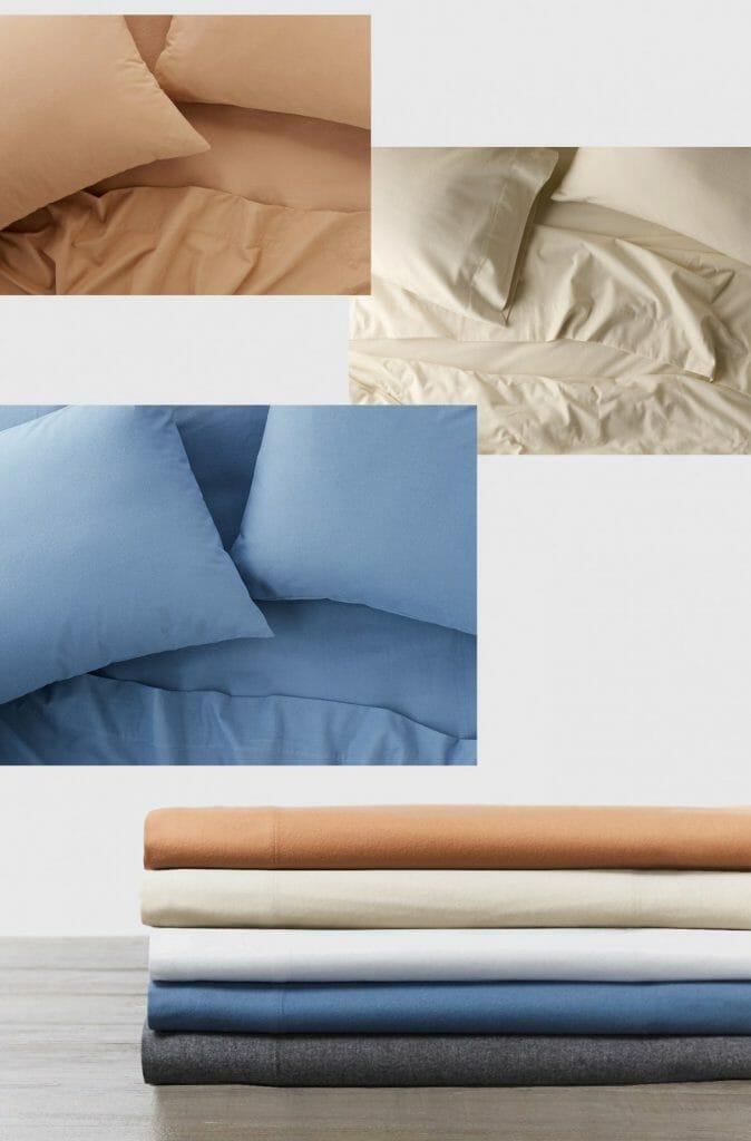 Coyuchi organic flannel sheets - stack