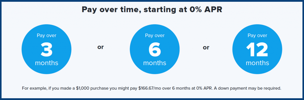 Pay over time - Zero Percent Interest