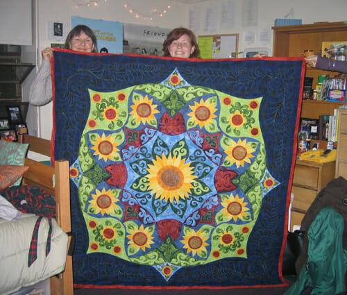 Anne & Bryna with her Sunflower quilt