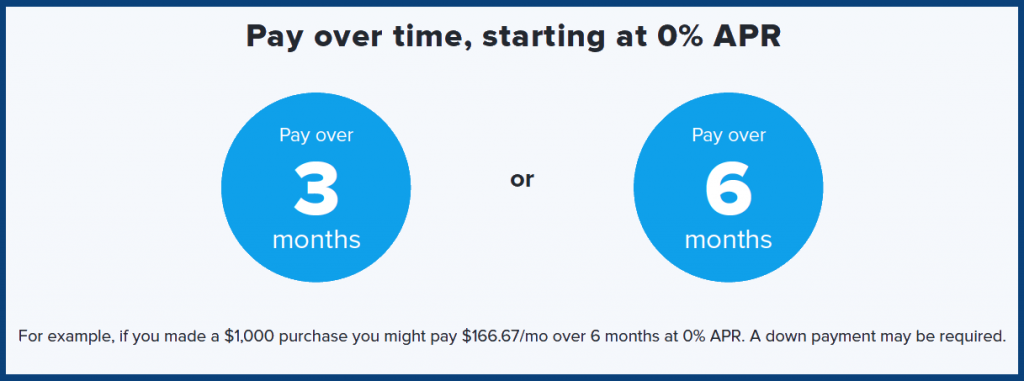 pay over time - zero percent interest APR