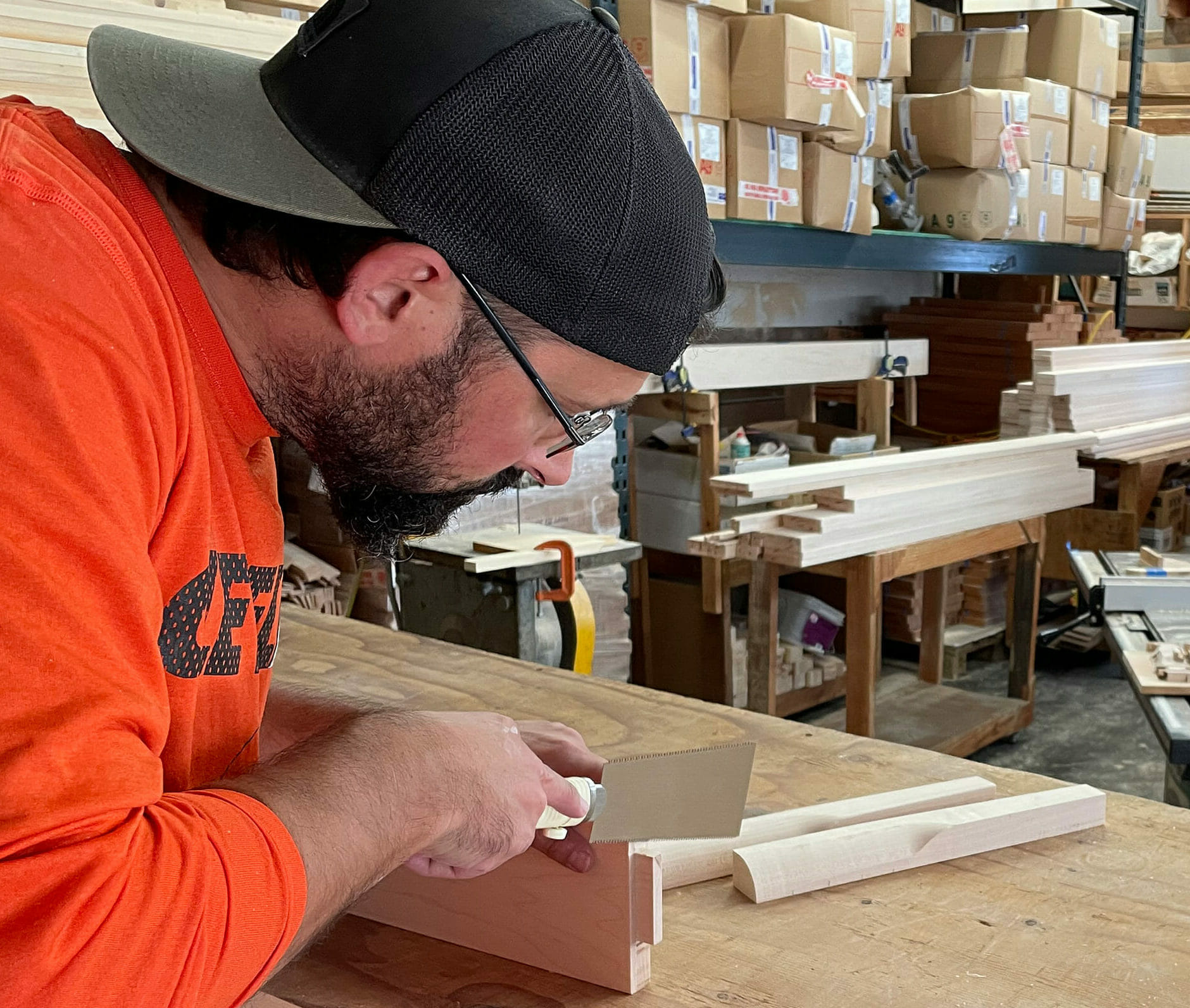 Marshall working on tenon for mortise joint