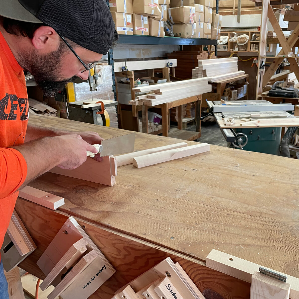 Marshall cuts tenon for Maple Platform Bed footboard