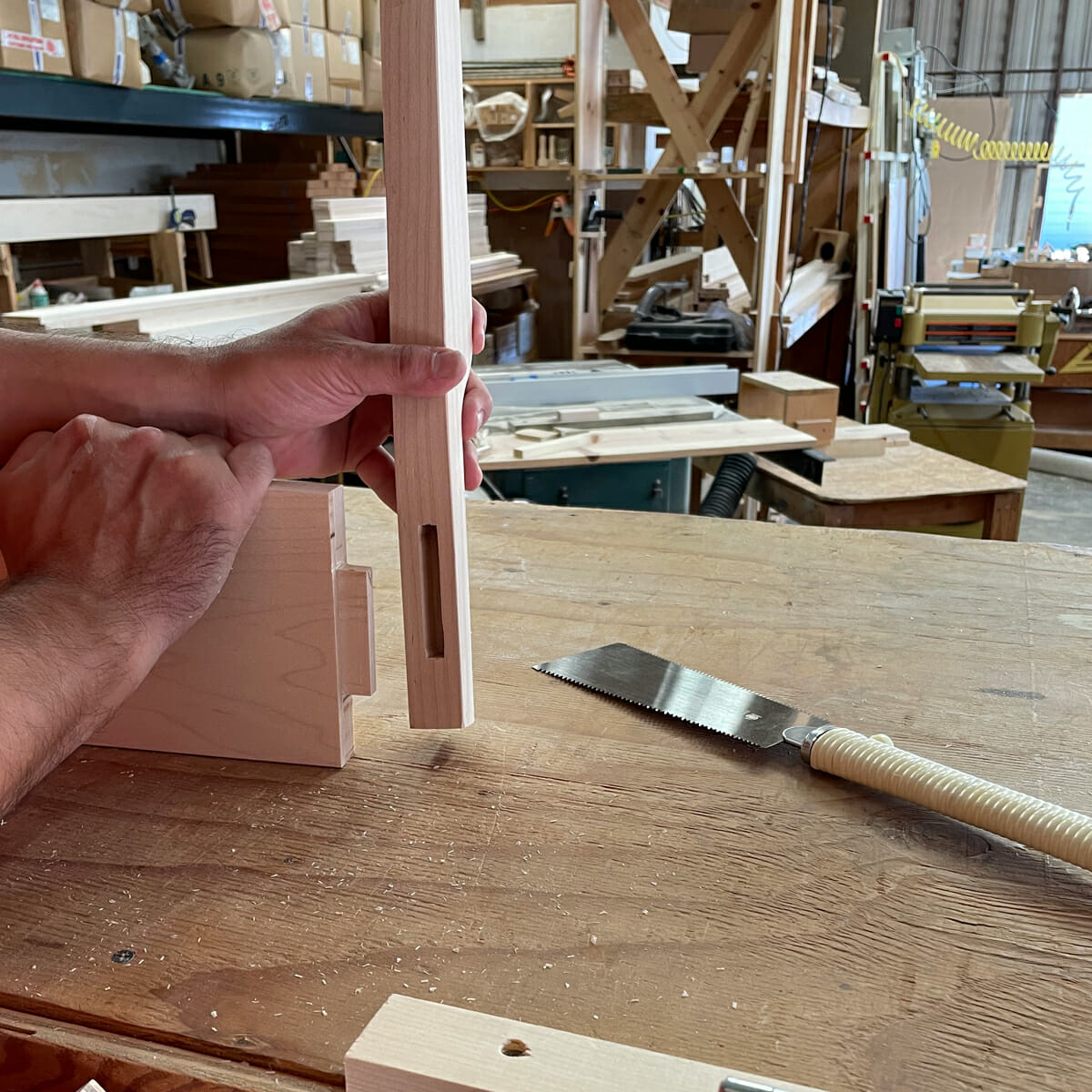 Mortise and Tenon wood joint for Maple Platform Bed